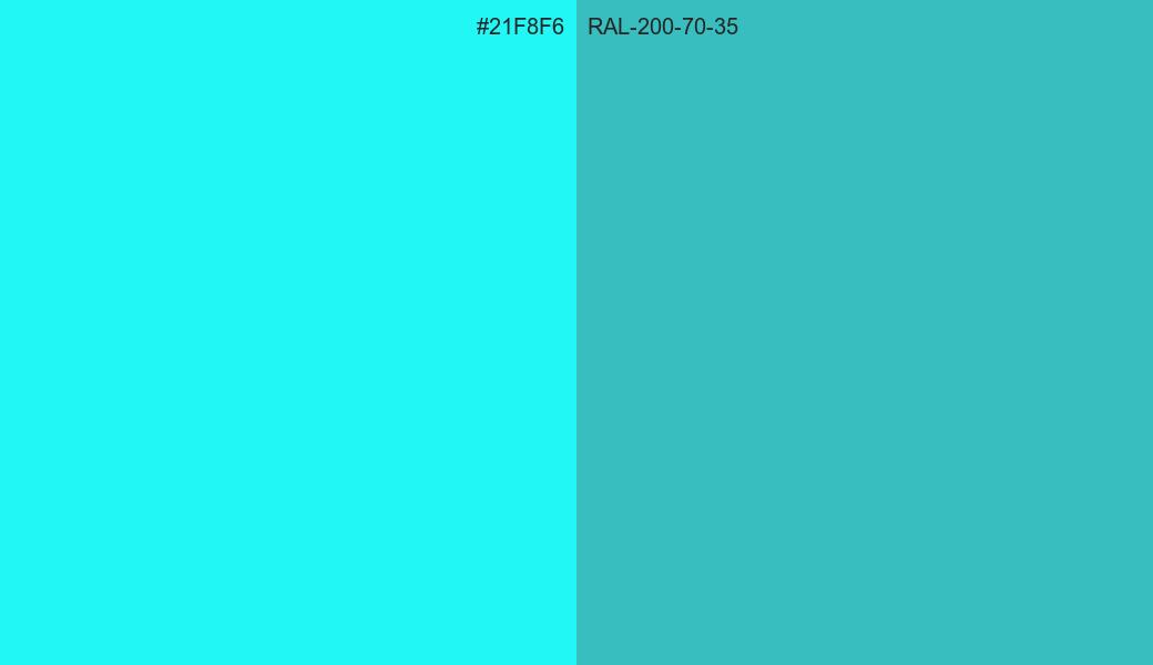 HEX Color 21F8F6 to RAL 200 70 35 Conversion comparison