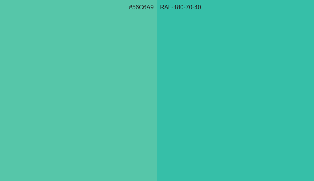 HEX Color 56C6A9 to RAL 180 70 40 Conversion comparison