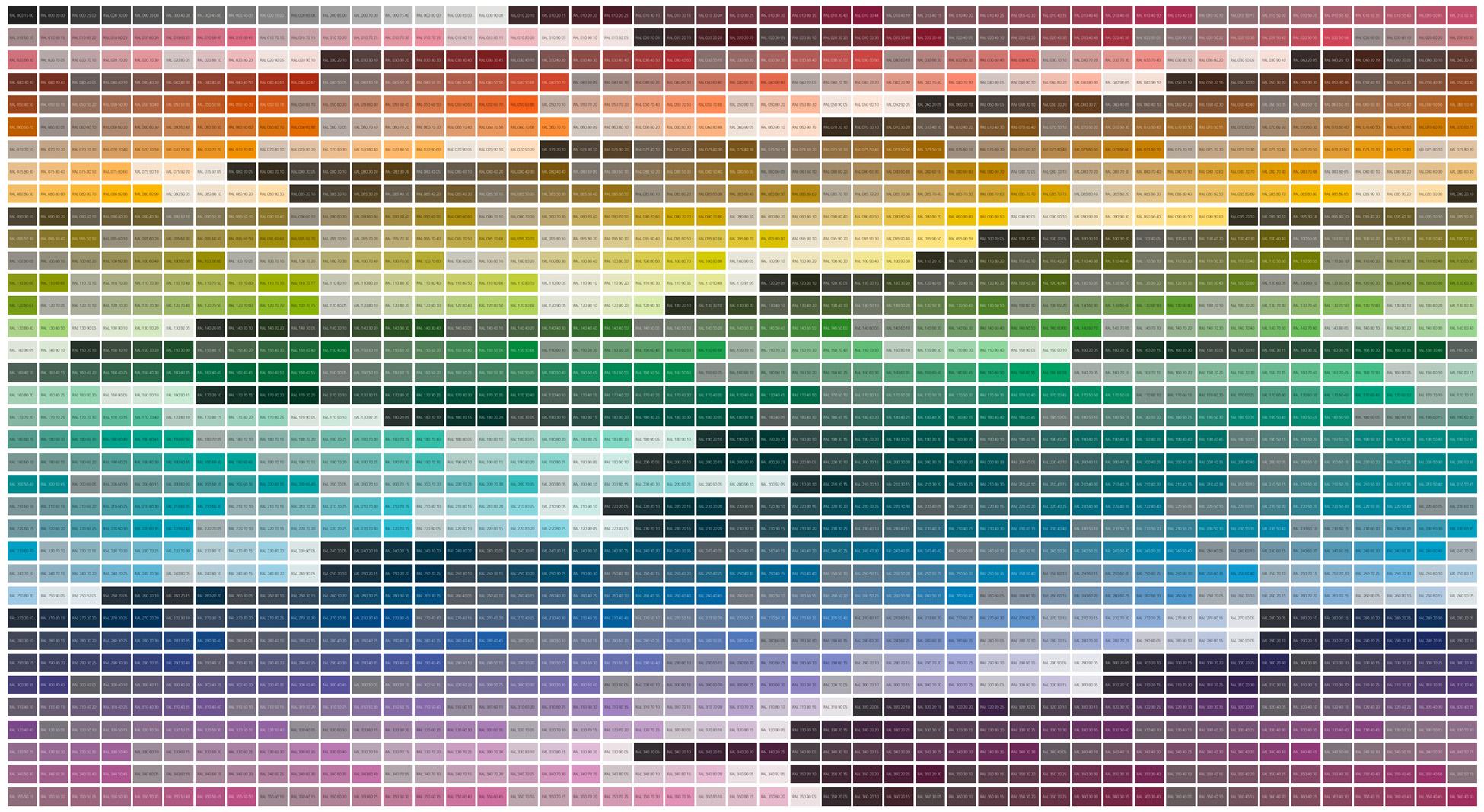 HEX to RAL Design chart (desktop)